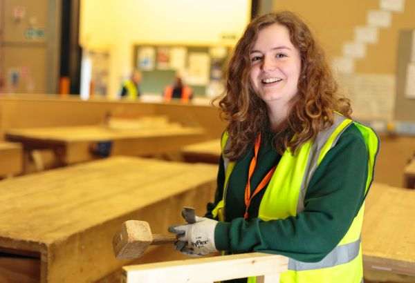 Girl on construction course