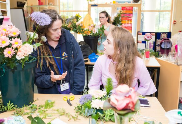 floristry lecturer and student