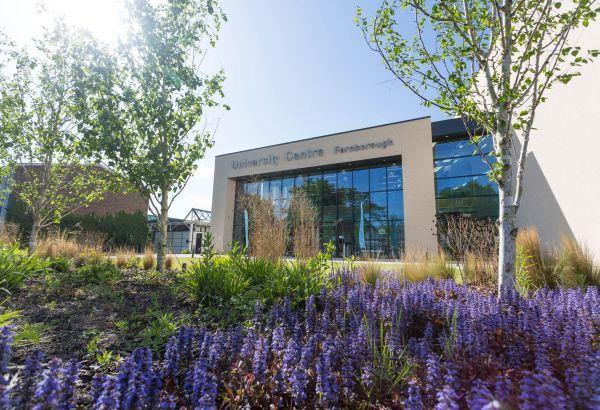 University Centre Farnborough building exterior on a sunny day