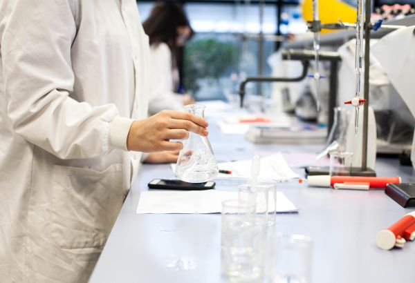 Student working with a petri dish in the lab