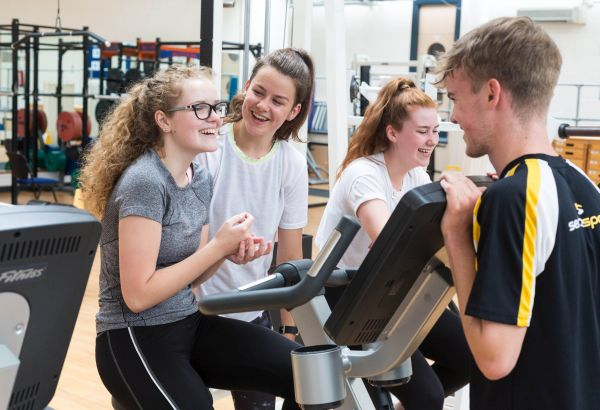 Students training in the gym