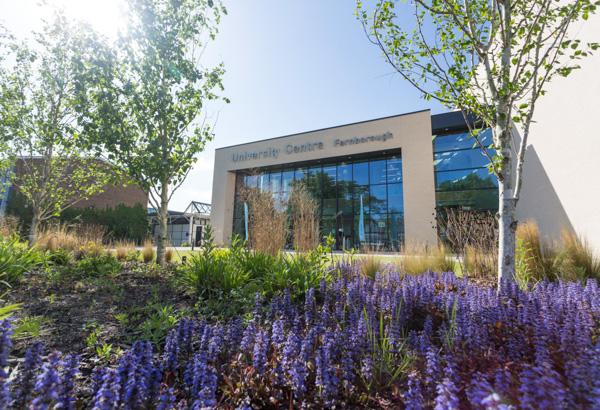 The University Centre Farnborough building exterior on a sunny day