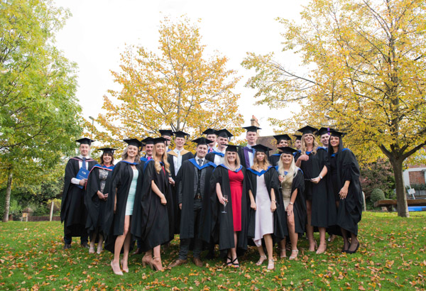 Large group of sport students at graduation ceremony