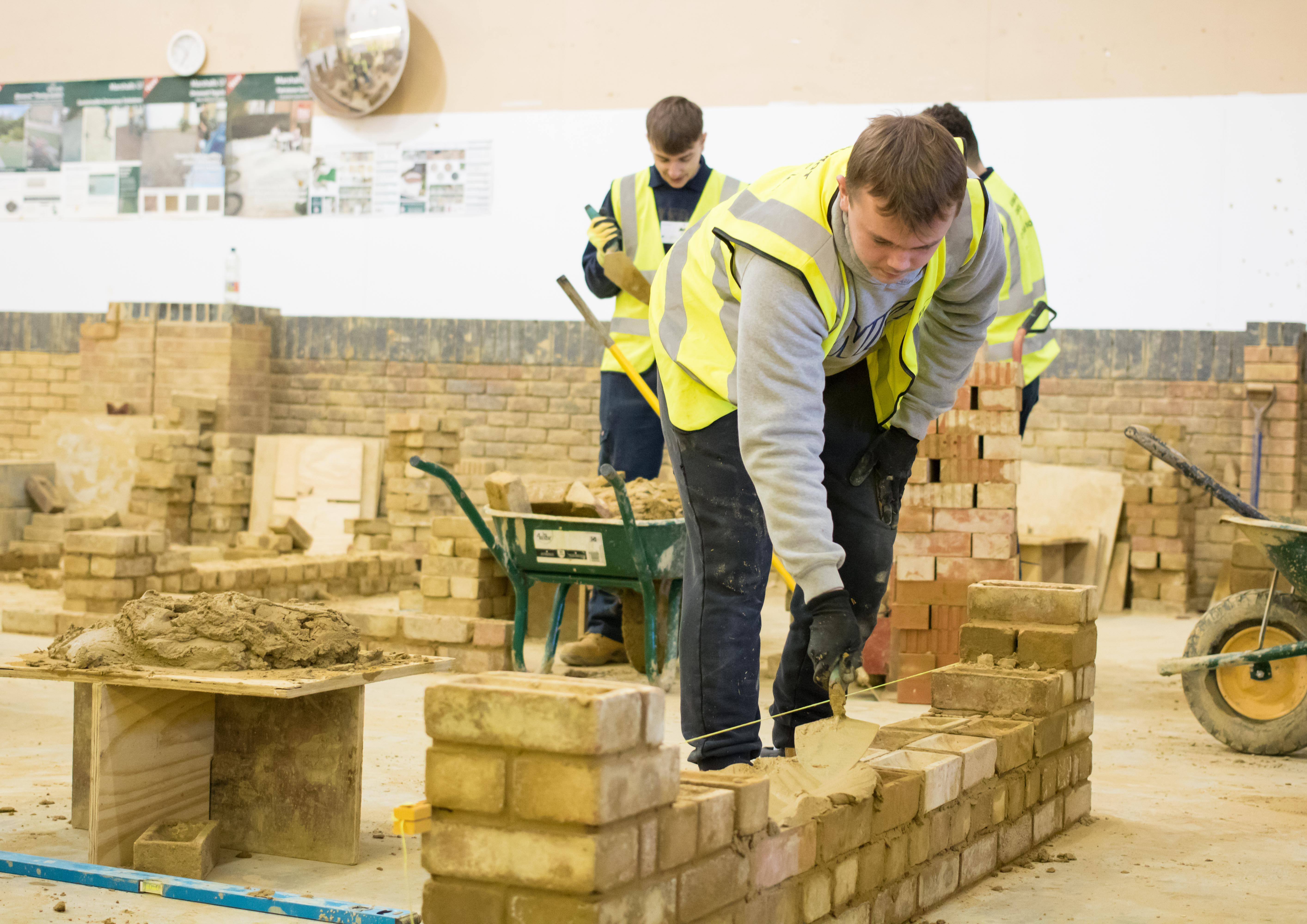 Student working in bricklaying workshop